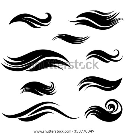 Wave element set design collection. - stock vector