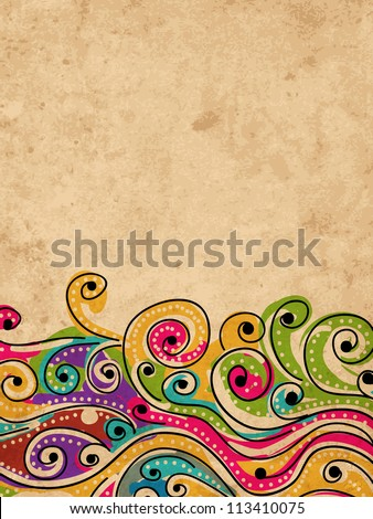 Wave hand drawn pattern for your design, abstract grunge background - stock vector