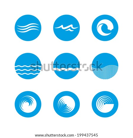 Wave Icon Set - Ocean, Sea, Beach - stock vector