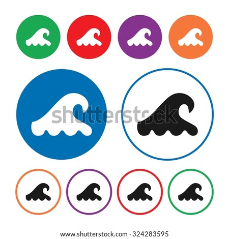 Wave icon. Water wave icon. Sea icon. Weather icon. Button. Vector illustration - stock vector