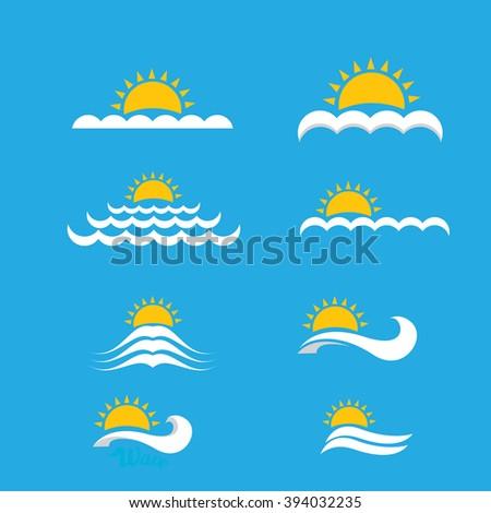 Wave Logo Design Elements Vector Abstract With Sun Beach