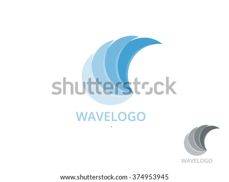 Wave Logo vector . Wave Logo - natural water Logo. Wave Logo template.  Nature Wave Logo.  Wave Logotype concept. Linear Wave Logo. Stylized Wave Logo isolated on white background - stock vector
