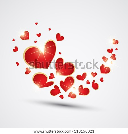 Wave made with red hearts. Vector - stock vector