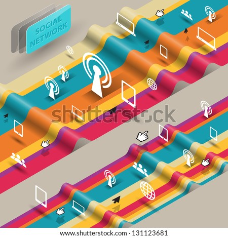 wave of social media concept, communication icons. Vector illustration - stock vector