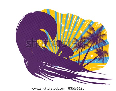 wave on the ocean - stock vector