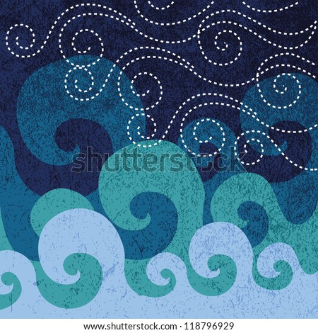 Wave pattern, sea background - stock vector