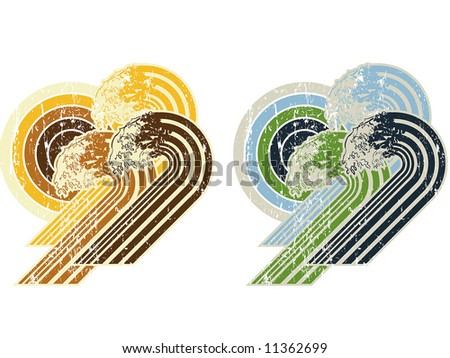 wave retro compotition - stock vector