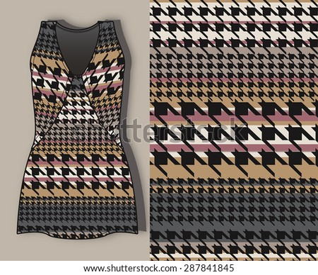 Wave, stripes and plaid patterned,  fabric print design with ladies dress. - stock vector
