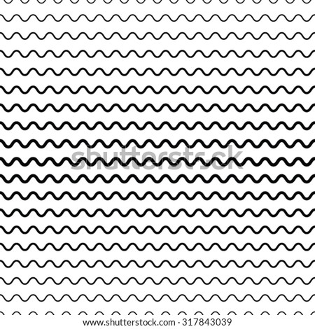 Wave Stripes . Horizontal Curved Lines . - stock vector