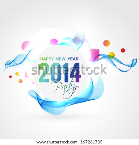 wave style happy new year design