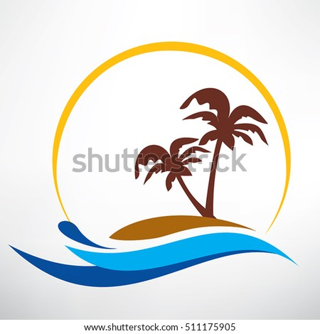 wave, sun and palm symbol, travel and summer time icon concept
