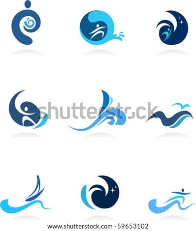 Wave, surf and flow icons