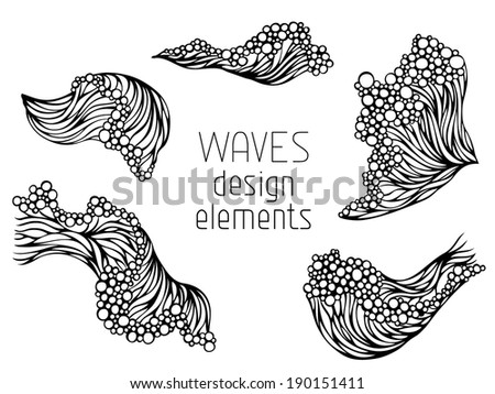 Wave symbols set isolated on white background. Hand-drawn elements for your design. - stock vector
