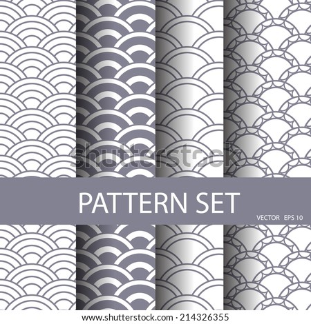 wave vector seamless patterns set. Endless texture can be used for wallpaper, pattern fills, web page background,surface textures. - stock vector
