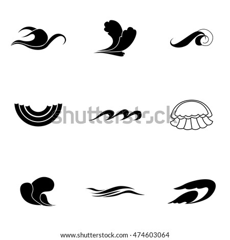 wave vector set simple wave shape illustration editable elements can be used in