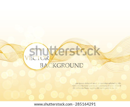 Wave vector shiny background in gold colors, abstract backdrop, bokeh effect, tape, colorful stripe, eye-catching backdrop