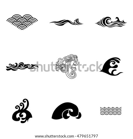 wave vector simple wave illustration editable elements can be used in logo design