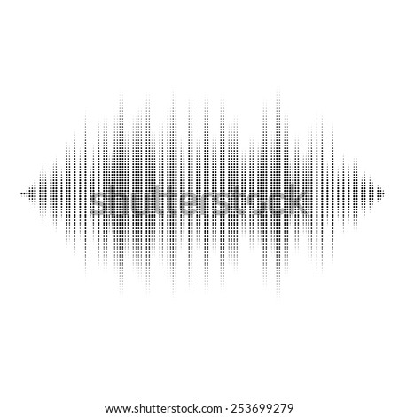 Waveform background isolated. Black and white halftone vector sound waves. You can use in club, radio, pub, party, DJ, concerts, recitals or the audio technology advertising background. - stock vector