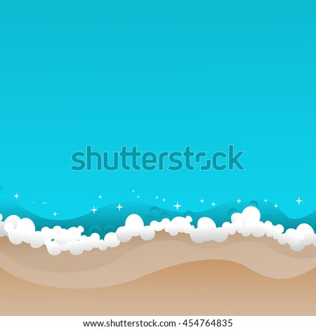 Waves and sandy beach. Summer tropical background with azure ocean surf. Copy space. Vector illustration. - stock vector