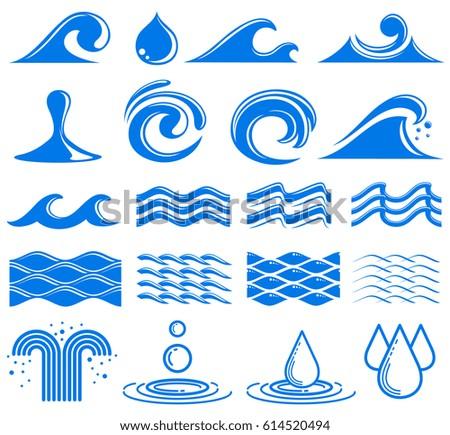 Waves Water Vector Symbols Set Water Stock Vector Royalty Free
