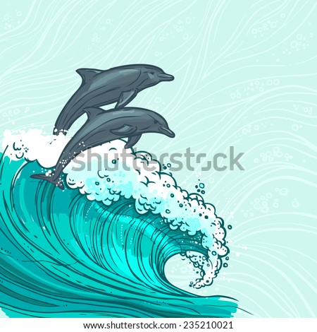 Waves flowing water sketch sea ocean and two dolphins colored background vector illustration - stock vector