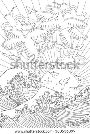 Waves. Hand drawn vector illustration.