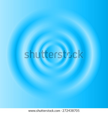 Waves on blue water from falling drop. - stock vector