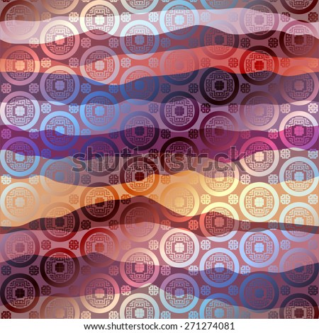 Waves patchwork in chinese style and silk effect. Seamless background pattern. - stock vector