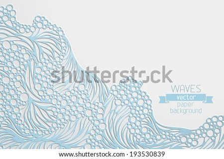 Waves vector paper background. Hand-drawn vector illustration with place for your text on right side of paper.