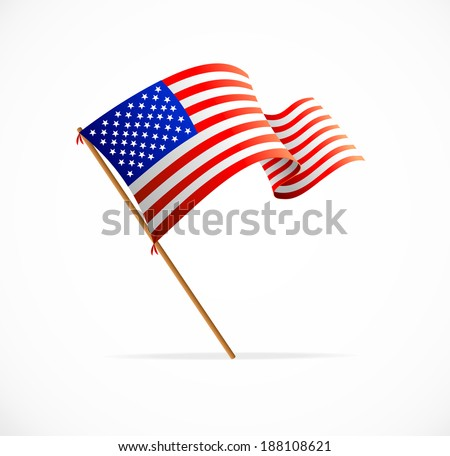 Waving American Flag (Flag of USA) vector - stock vector
