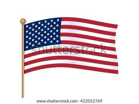Waving american flag on pole. National symbol of United States of America USA with inclined gold stick. American flag isolated on white background. Vector illustration - stock vector