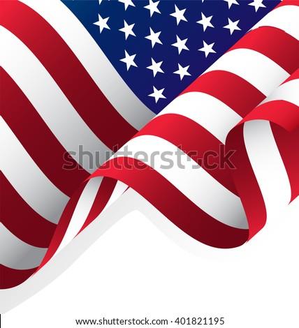 Waving American Flag Vector, Clipping Mask - stock vector
