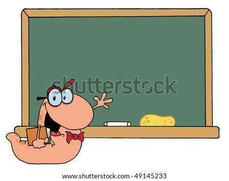 Waving Bookworm Student In Front Of School ChalkBoard - stock vector