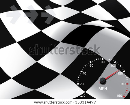 Waving checkered flag in the background with speedometer and arrows in front