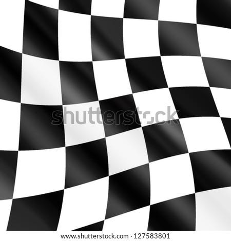 Waving checkered racing flag,vector - stock vector