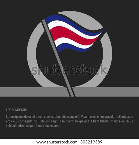 Waving Costa Rica Flag badge design - independence day Label - Vector illustration - stock vector