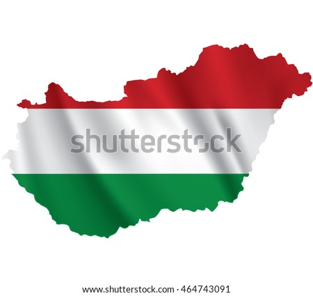 Waving Fabric Flag Map of Hungary