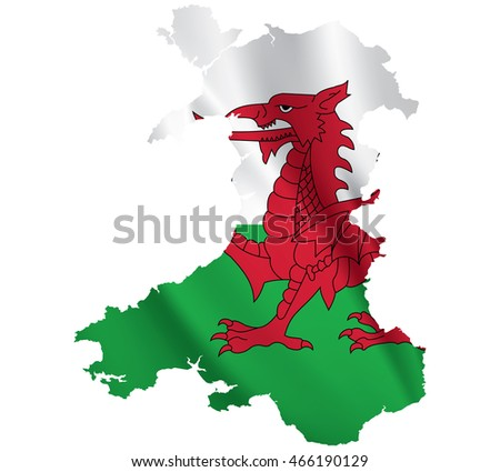 Waving Fabric Flag Map of Wales