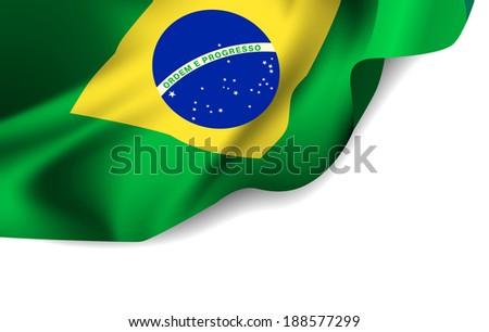 Waving flag of Brazil, South America. Vector illustration - stock vector