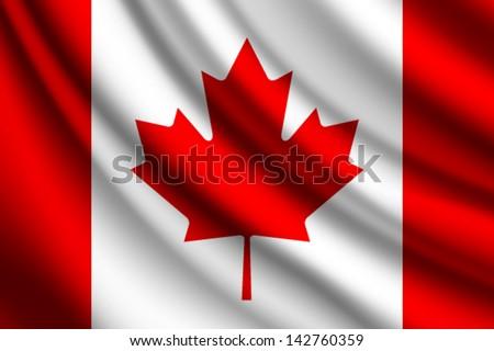 Waving flag of Canada, vector - stock vector