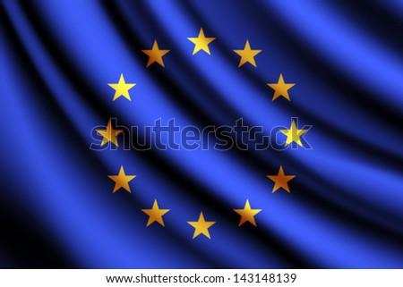 Waving flag of European Union, vector - stock vector