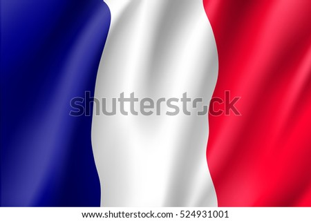 Waving flag of France. Vector illustration of 3D icon with red, white and blue colors.