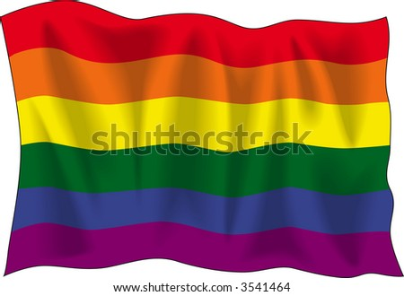 Waving flag of Gay pride isolated on white - stock vector