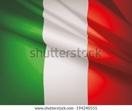 Waving flag of Italy, vector background - stock vector