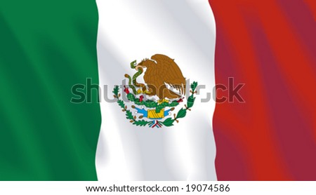 Waving flag of Mexico - stock vector