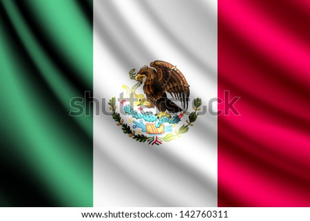 Waving flag of Mexico, vector - stock vector