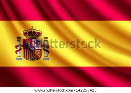 Waving flag of Spain, vector - stock vector