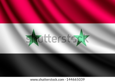 Waving flag of Syria, vector - stock vector