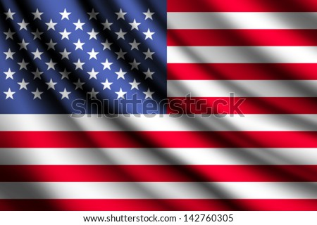 Waving flag of United States of America, vector - stock vector