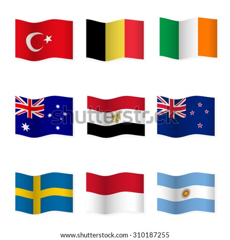 Waving flags of different countries. Flag icons on white background. Vector content. 3D waving position with shadow. Each flag is isolated on its own layer with the proper name. Set 3. - stock vector